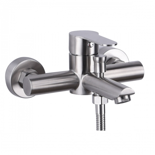 Tecmolog Stainless Steel Brushd Nickle Bathroom Faucet, Wall-Mounted Shower Set and Height Adjustable Sliding Bar SNA516/SNA516F/SBH156/SBH156F