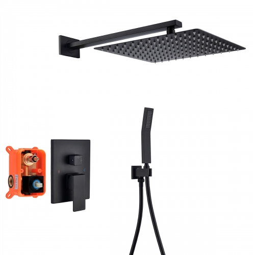 Tecmolog Black Shower Combo Set Stainless Steel Wall Mounted Shower Systems with Rain Shower and Handheld, Shower Trim Kit with Rough-In Valve