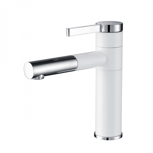 Tecmolog Brass White Basin Faucet, Bathroom sink Mixer Tap with 360° rotatable spout and Single Handle BW6112B/BW6112C