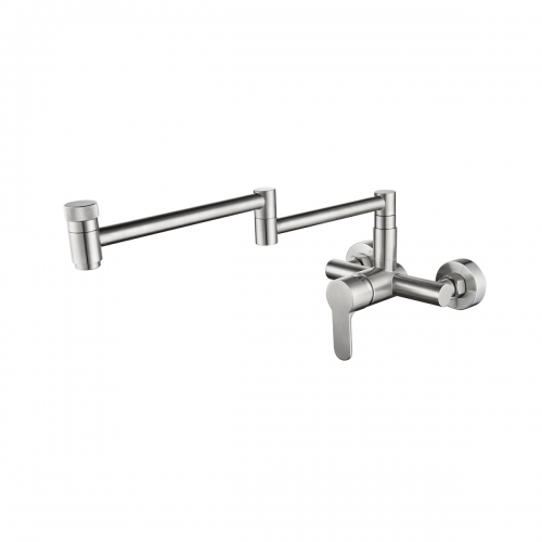 Tecmolog Wall Mount Kitchen Faucet, Brass 360° Rotatable Folding Lengthened Sink Taps with Double Switch Single Handle