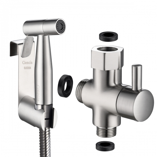 "Tecmolog Hand Held Bidet Sprayer Shattaf Stainless Steel Cloth Diaper Sprayer Set with 3/8"" T Valve and Bracket Holder, Brushed Nickel"