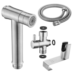Tecmolog Stainless Steel Button Type 2-Ways mode Hand Held Shattaf, Bidet Sprayer Set with G7/8 Diverter WS024BFM