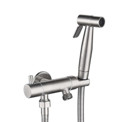 Tecmolog Stainless Steel Brushed Nickel Bidet Spray Set, with Wall Mounted Sprayer Holder for Bathroom/Toilet WS024S6