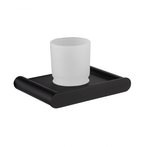 Tecmolog Black Cup/Tumbler Holder, 304 Stainless Steel Wall-mount Glass Single Cup Holders with Glass