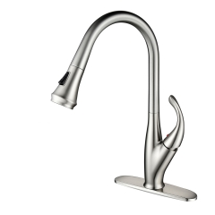 Tecmolog Brass Brushed Nickel Deck Mounted Faucet, Kitchen Mixer Tap with 360° Rotating Pull Out Sprayer BNA1225