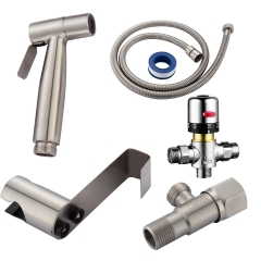 Tecmolog SUS304 Stainless Steel Nickle Bathroom Handheld Bidet Shattaf, Bidet Sprayer Set with Thermostatic valve WS024F1A
