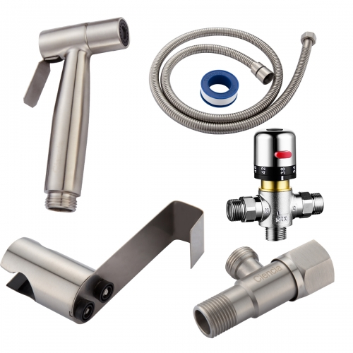 Tecmolog SUS304 Stainless Steel Nickle Bathroom Handheld Bidet Shattaf, Bidet Sprayer Set with Thermostatic valve