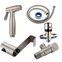 Tecmolog Bidet Spray Kit Stainless Steel Diaper Sprayer for Toilet, Hand Held Sprayer with Thermostatic Mixing Valve WS024AF1A