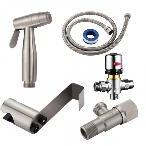 Tecmolog Bidet Spray Kit Stainless Steel Diaper Sprayer for Toilet, Hand Held Sprayer with Thermostatic Mixing Valve