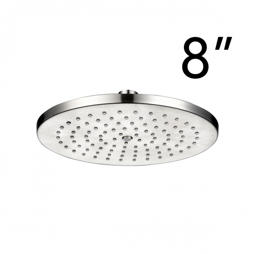 Tecmolog Stainless Steel Chrome Washable Shower Head, High Pressure Fixed Top Shower For Bathroom, 8 inches Round/Square BD142/BD143