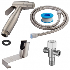 Tecmolog Stainless Steel Diaper Sprayer Shattaf, Bidet Sprayer Set, 2 Jets Handheld Toilet Sprayer, Complete Bidet Set for Toilet WS024AF2