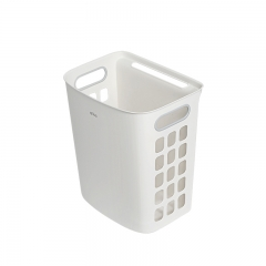 Tecmolog Plastic Dirty Clothes Basket, Hanging Free Punching Wall Laundry Hamper Basket, Large Bathroom Storage Basket CTB001W/CTB001GR