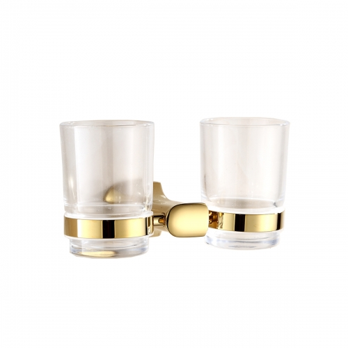 Tecmolog Brass Golden Double Cup holder, Wall mounted Cup &Tumbler Holder, Bathroom Accessories BH495J