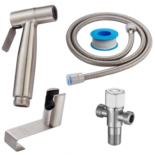 Tecmolog Handheld Bidet Sprayer Set, Stainless Steel Shattaf, Cloth Diaper Sprayer for Toilet WS024F2