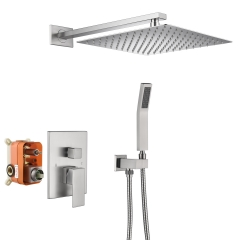 Tecmolog Bathroom Shower System with 10''/12'' Rain Shower and Handheld, Wall Mount Shower Set with Rough-in Valve Body, Nickel, BNA314B/BC314C