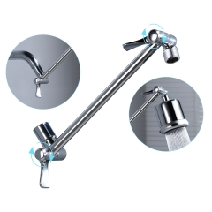 Tecmolog Brass Shower Extender Arm 11 Inch Height & Angle Adjustable Shower Head Extension Arm Chrome with Lock Joints, HPF022