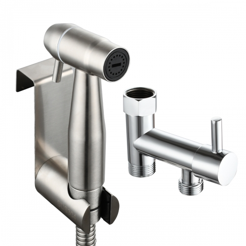 Tecmolog Stainless Steel Hand Held Bidet Sprayer Kit with 7/8''(15/16'') Diverter Valve for America, Brushed Nickel/Chrome, WS036FM1/WS036FM2