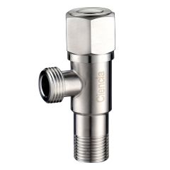 Tecmolog Stainless Steel 1/2 Half Turn Angle Valve, Shut Off Valve with G1/2'' Male Inlet and Outlet, Brushed Nickel Toilet Bidet T-Adapter, ST011