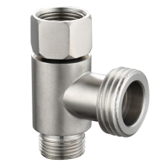 Tecmolog 304 Stainless Steel 3-Way Tee Connector US 3/8 T Adapter Nickel T-Valve for Bidet Sprayer,SBA020B