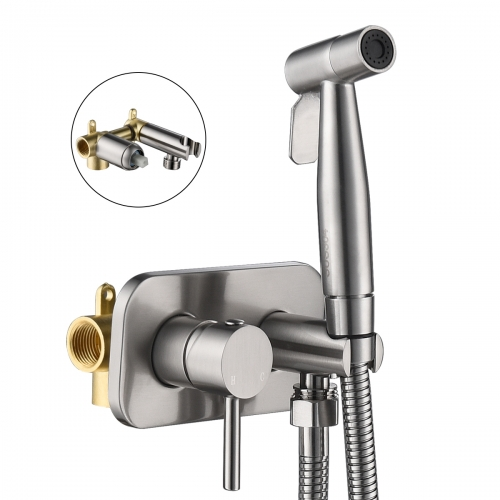 Tecmolog Stainless Steel Bathroom Bidet Sprayer Set, Hot and Cold Concealed Bidet Sprayer Kit for Toilet, Brushed Nickel/Black, WS024F9/WS024CF3