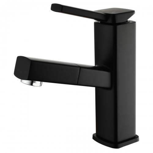 Tecmolog Pulldown Basin Faucet with Pull out Sprayer, Brass Single Lever Faucet for Bathroom, Black/Chrome/Brushed Nickel, BB6129/BC6129/BNA6129