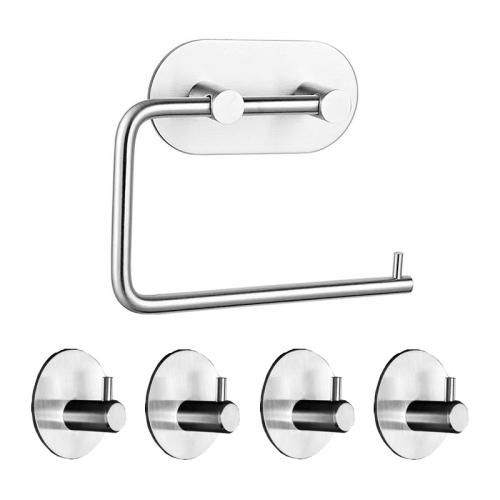Rustproof SUS304 Stainless Steel Adhesive Hooks Bathroom Accessories Set Towel Hook Tissue Holder High-strength Nail-free Sticker Brushed/Black Finished 4pcs Robe Hook 1 Paper Holder