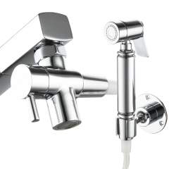 Tecmolog Faucet Bidet Sprayer Kit for Basin, Handheld Bidet Sprayer with G1/2 Faucet Diverter, Hose and Height Adjustable Holder for Personal Hygiene, Pet Shower, Baby Cloth Diaper Washing